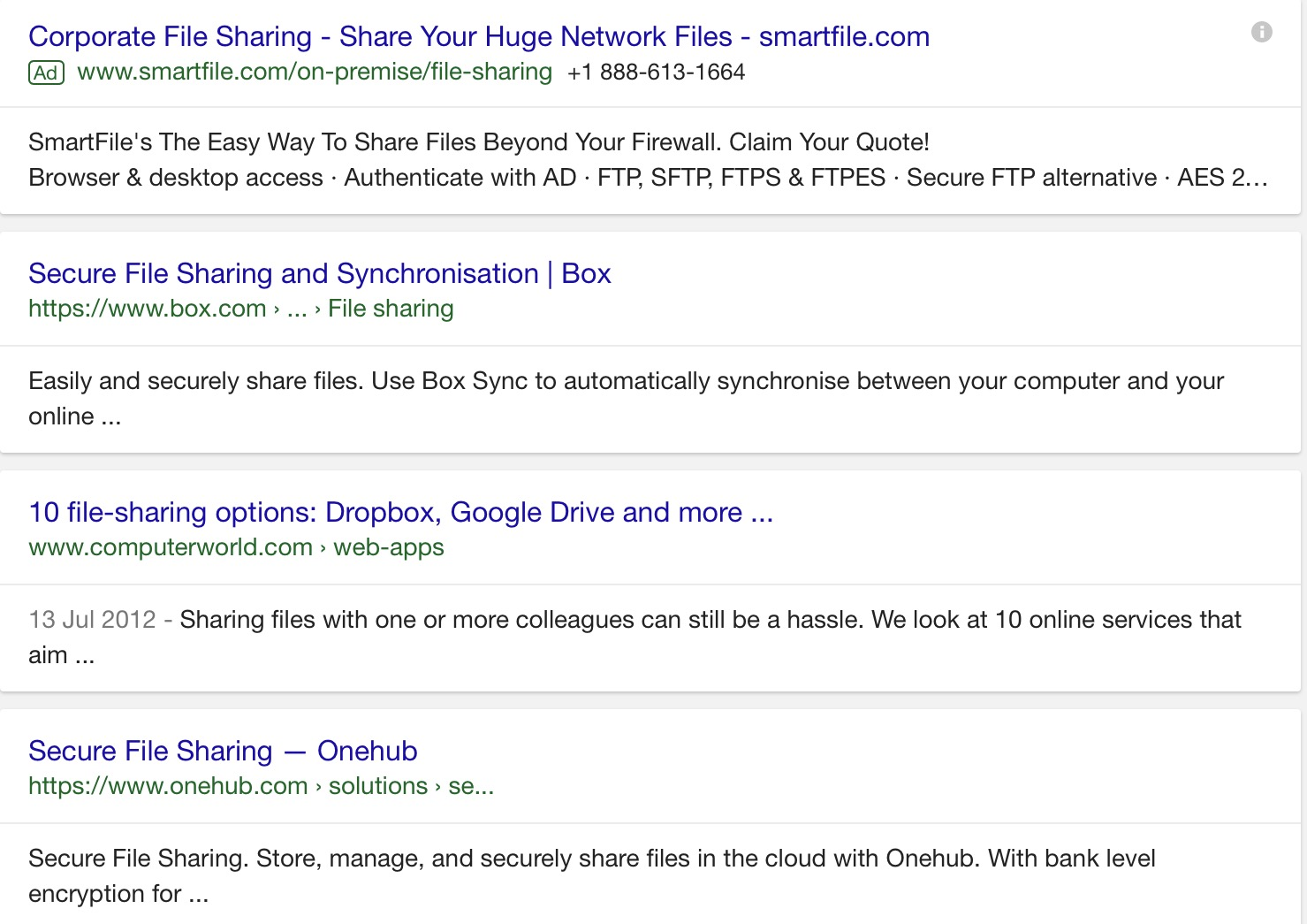 organic search result for file transfer