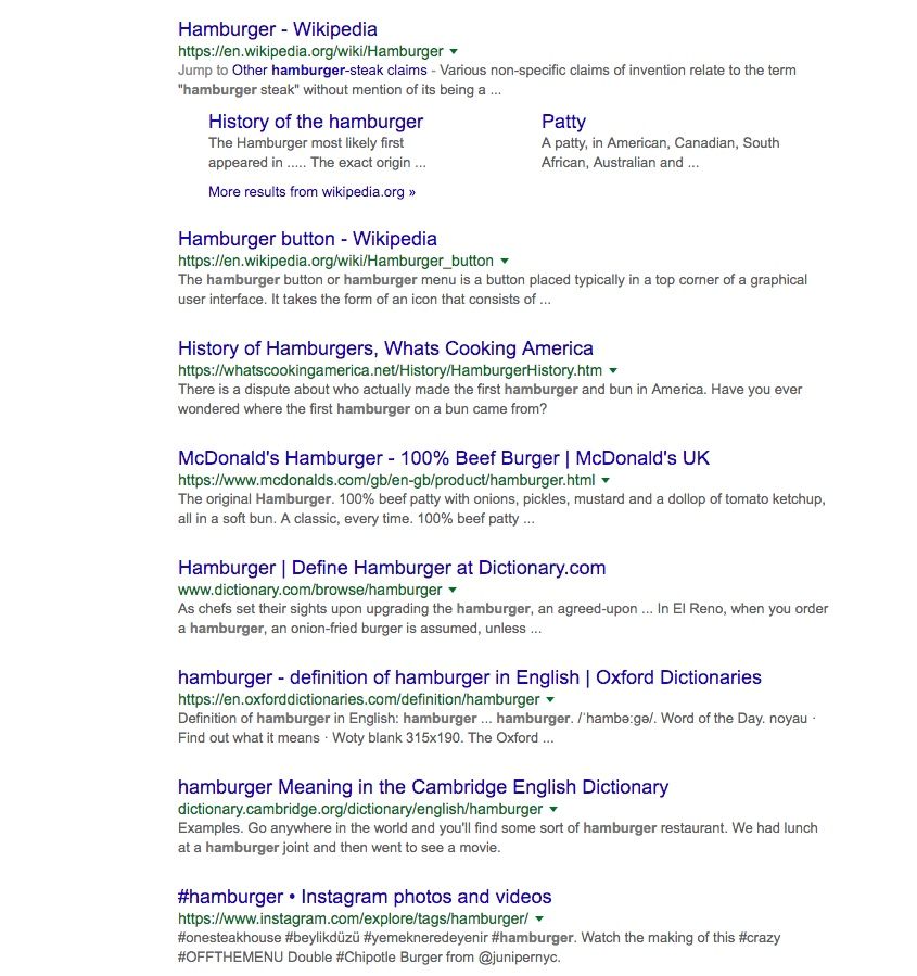 hamburger search to show how SEO works